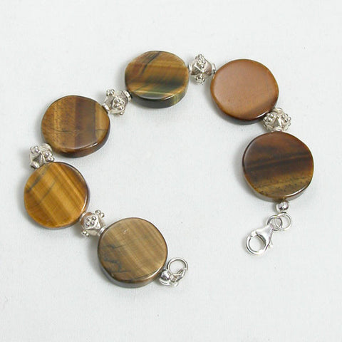 Tiger Eye Gemstone and Silver Bracelet (B0126)