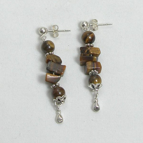 Tiger Eye Gemstone and Silver Earrings (E0162)