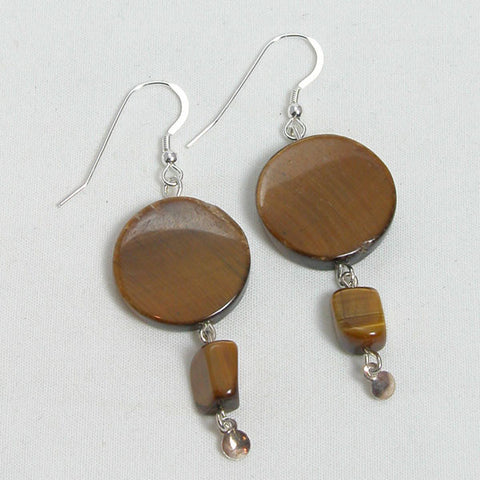 Tiger Eye Gemstone and Silver Earrings (E0160)