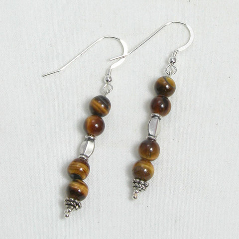 Tiger Eye Gemstone and Silver Earrings (E0161)