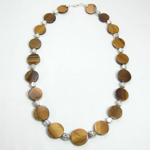 Tiger Eye Gemstone and Silver Necklace (N0045)