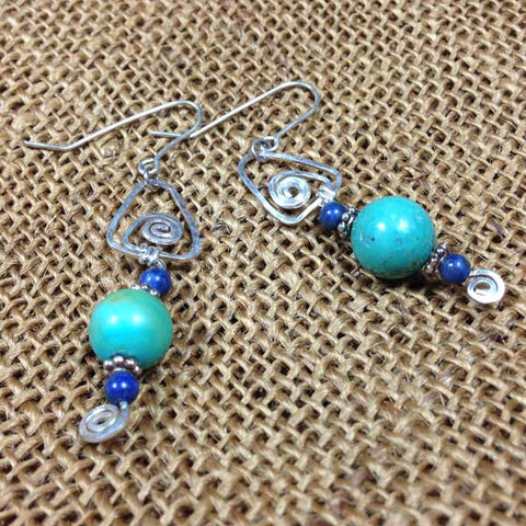 Turquoise and Lapis Gemstone Wire Earrings (E0191)