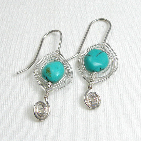Turquoise Gemstone Silver Wire Earrings (E0165)