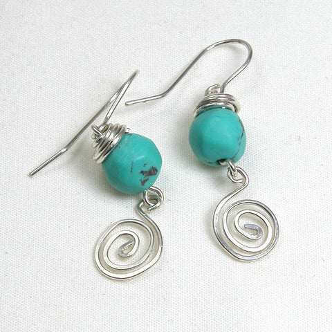 Turquoise Gemstone and Silver Earrings (E0166)