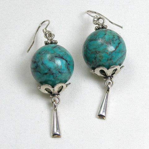 Turquoise Gemstone and Silver Earrings (E0167)