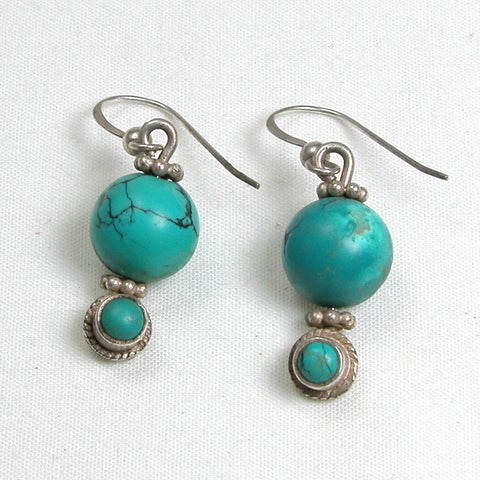 Turquoise Gemstone and Silver Earrings (E0170)