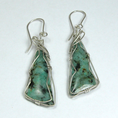 Turquoise Gemstone Silver Wire Earrings (E0171)