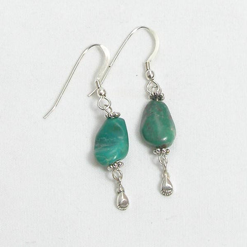 Turquoise Gemstone and Silver Earrings (E0177)