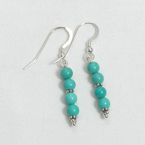 Turquoise Gemstone and Silver Earrings (E0179)