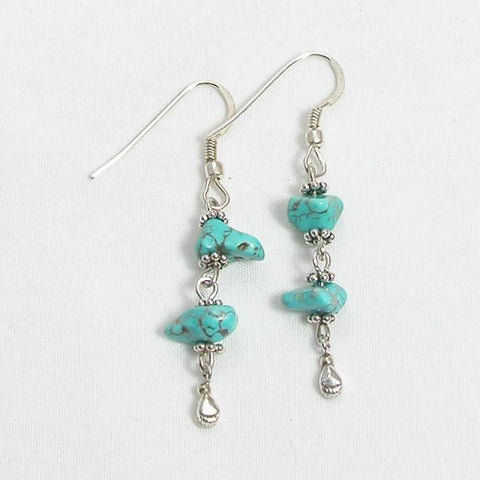 Turquoise Gemstone and Silver Earrings (E0176)