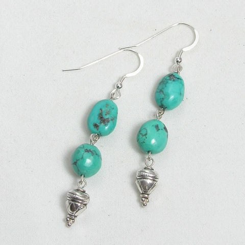 Turquoise Gemstone and Silver Earrings (E0172)