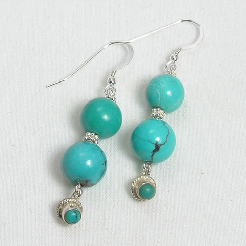 Turquoise Gemstone and Silver Earrings (E0173)