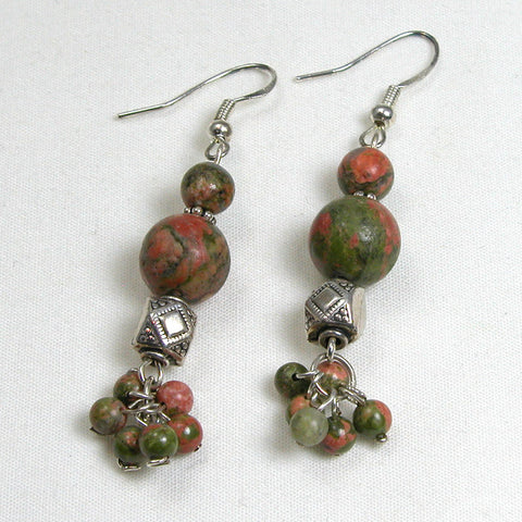 Unakite Gemstone and Silver Earrings (E0180)