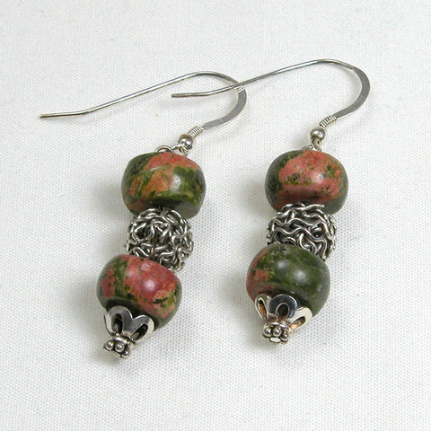 Unakite Gemstone and Silver Earrings (E0183)