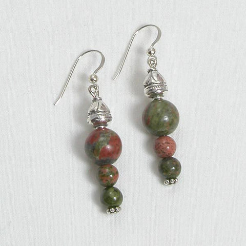 Unakite Gemstone and Silver Earrings (E0186)