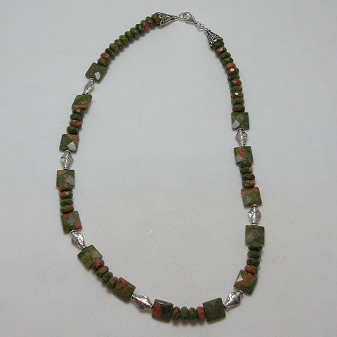 Unakite Gemstone and Silver Necklace (N0051)