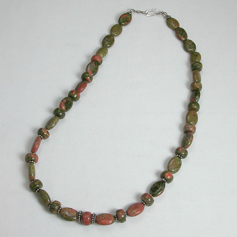 Unakite Gemstone and Silver Necklace (N0052)