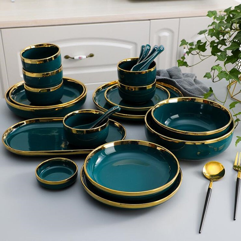 Gilt Rim Green Ceramic Plate