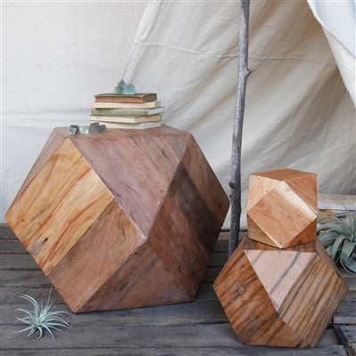 Natural Icosahedron Wood Block - Large