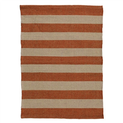 Orange & White Striped Seaport Rug 2x3