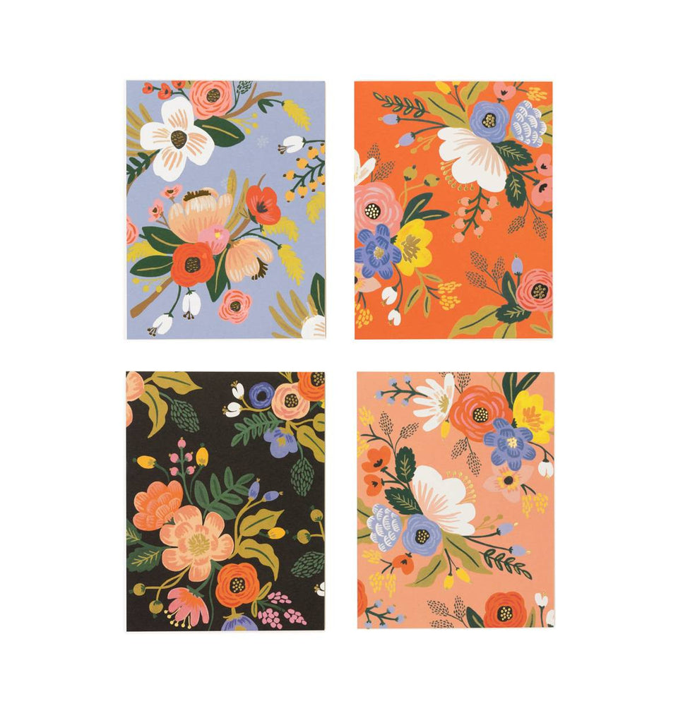 Assorted Lively Floral Cards- Set of 8