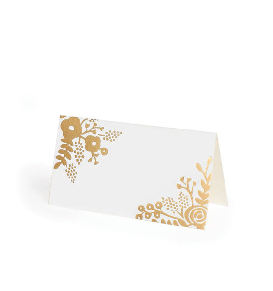 Gold Lace Foil Folding Place Cards- Set of 8