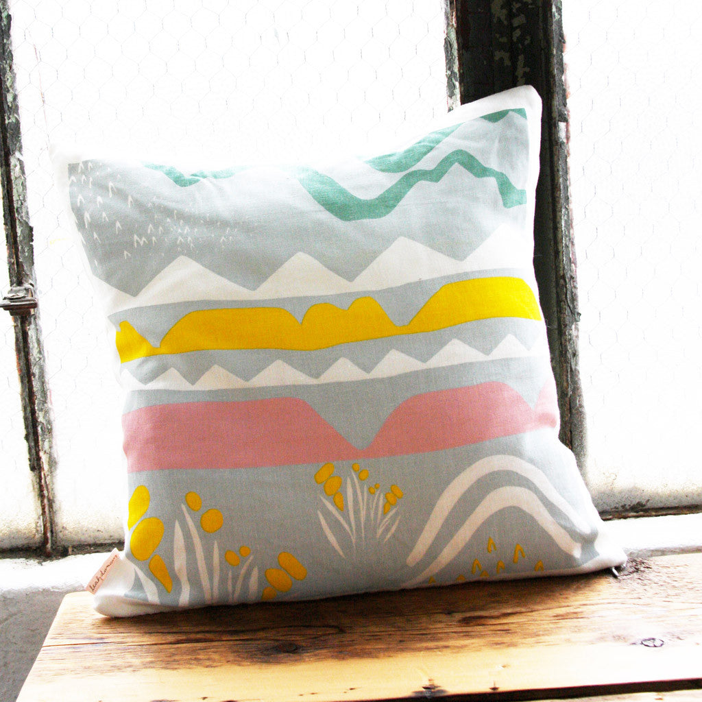 Landscape Linen Pillow Cover with Insert