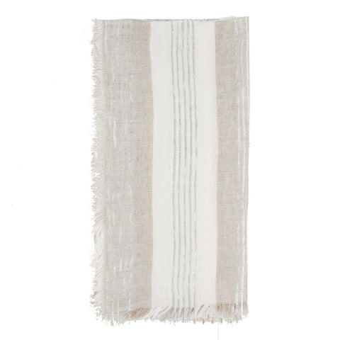 Natural Linen Napkins With Metallic Stripes- Set of 2