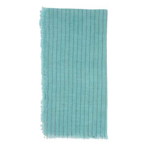 Aqua Linen Napkins With Metallic Stripes- Set of 2