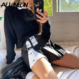 ALLNeon Y2K Fashion Patchwork A-line Mini Skirts E-girl Outfit Printing Slit High Waist Black Skorts Punk Style Bottoms Autumn