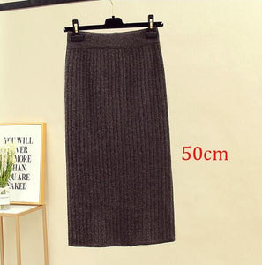 2020 Elastic Women's Pencil Skirt Autumn Winter High Waist Warm Elegant Knitted Midi Skirt Ribbed Ladies Party Skirts Plus Size