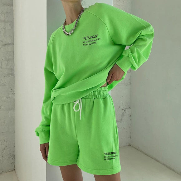 Casual Women's Personality Fluorescent Solid Letter Printing Loose O-neck Long Sleeve Sweater Tops / Shorts Sportwear Girl Set