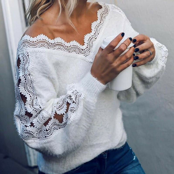 Fashion Women's Sweater Winter Lace V-neck Pullover Jumper Autumn Winter asual Loose Pure Color Sweater Clothing