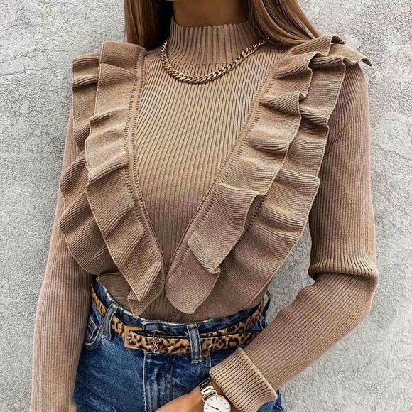 Mock Neck Ruffles Women's Knitted Sweater Long Sleeve Solid Coffee Slim Elegant Office Lady Pullover 2021 Spring Fashion Top New