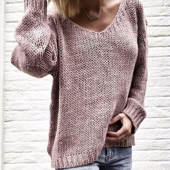 2020 Casual Women Loose Solid Color Knitted Sweater V Neck Long Sleeve Top Women's Clothing свитера женские  pull femme