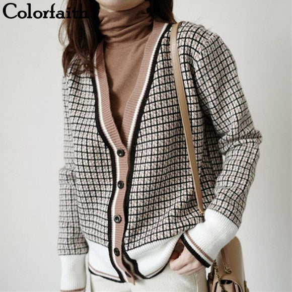 Colorfaith New 2021 Winter Spring Women's Sweaters Plaid Fashionable Korean Style Checkered Knitting Oversize Cardigans SWC291