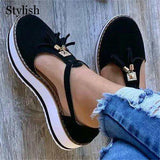 Sandals Women's Flat Shoes Spring Summer Casual Shoes Tassel Round Toe Female Vulcanized Shoes Canvas Ladies Platform Sandals