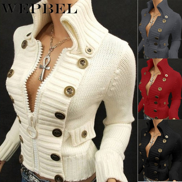 WEPBEL Women's Fashion Slim Solid Color Sweater Autumn and Winter Leisure Long Sleeve Zipper Button Turtleneck Sweater