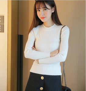 Autumn new Korean version of solid color wild round neck slim fit pullover knitted straight women's sweater
