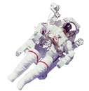 Astronaut floating in space below picture of Doge moon lamp, shiba inu meme