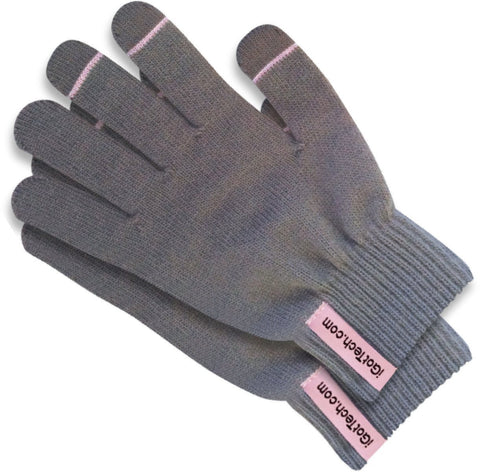 iGotTech Texting Gloves for Smartphones & Touchscreens, Gray with Pink Details