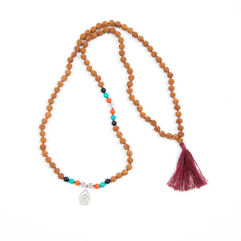 Rudraksha Mala Necklace with Silver Blissology Pendant