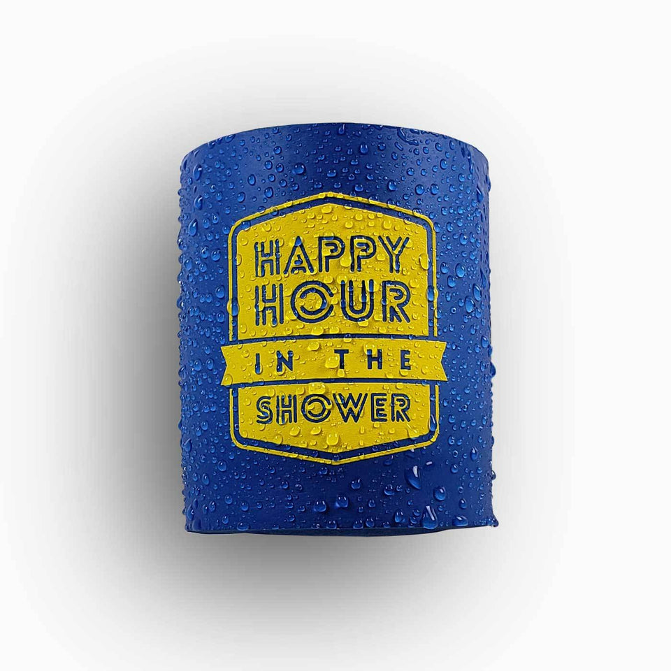 Happy Hour in the Shower design blue foam can beverage holder with yellow ink that sticks to your shower wall via industrial velcro.