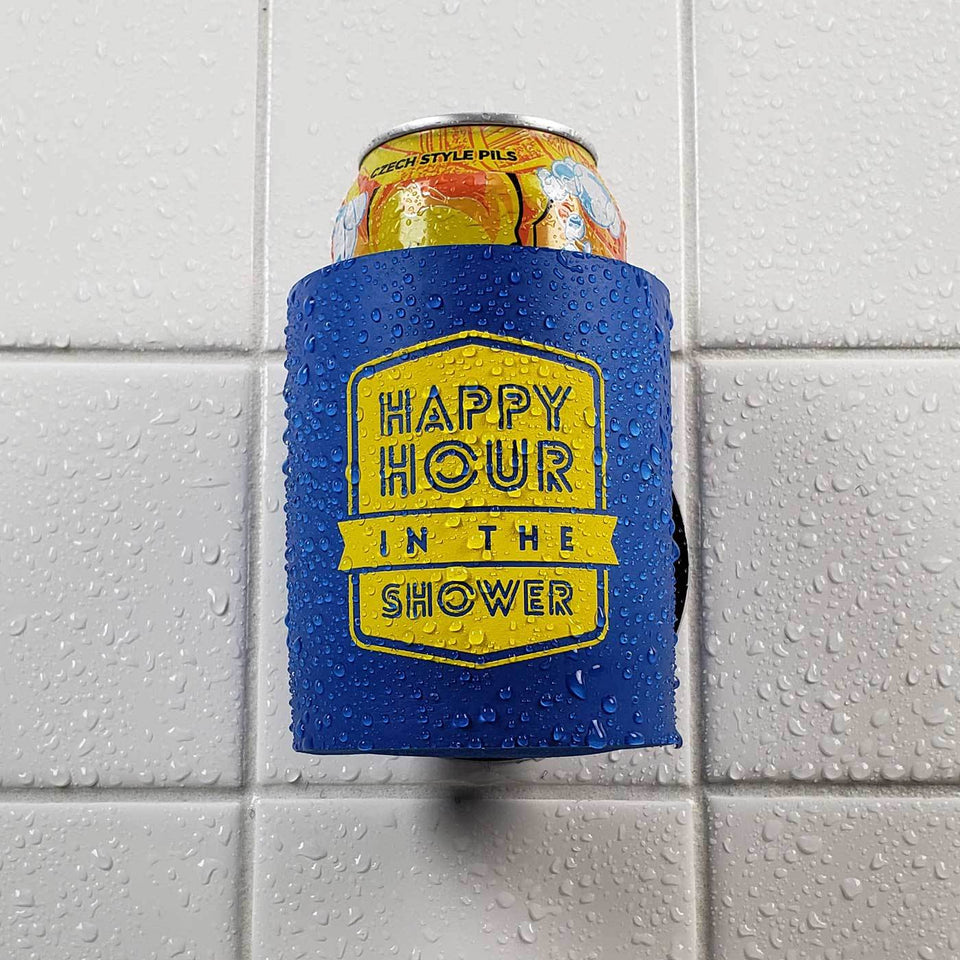 Happy Hour in the Shower design blue foam can beverage holder with yellow ink sticking to a shower wall.