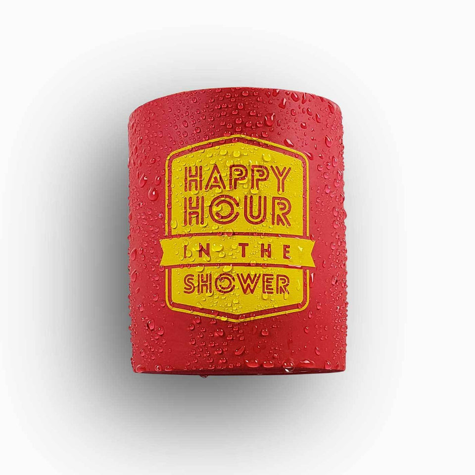 Happy Hour in the Shower design red foam can beverage holder with yellow ink that sticks to your shower wall via industrial velcro.