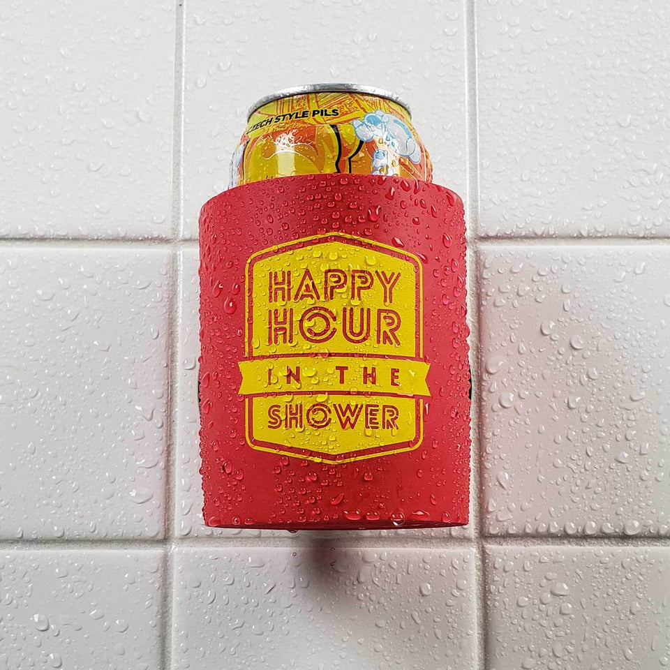 Happy Hour in the Shower design red foam can beverage holder with yellow ink sticking to a shower wall.