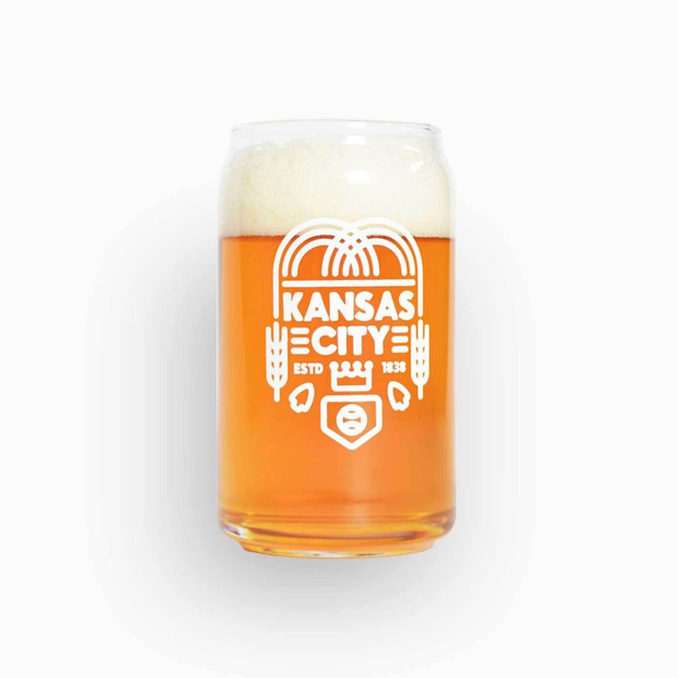 Beer can shaped glass with Kansas City design in white ink - comes in four pack.