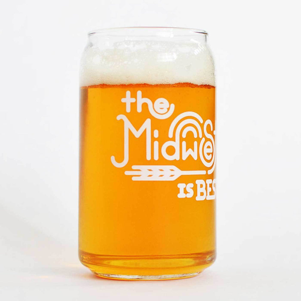 Beer can shaped glass with The Midwest is Best design in white ink - comes in four pack.