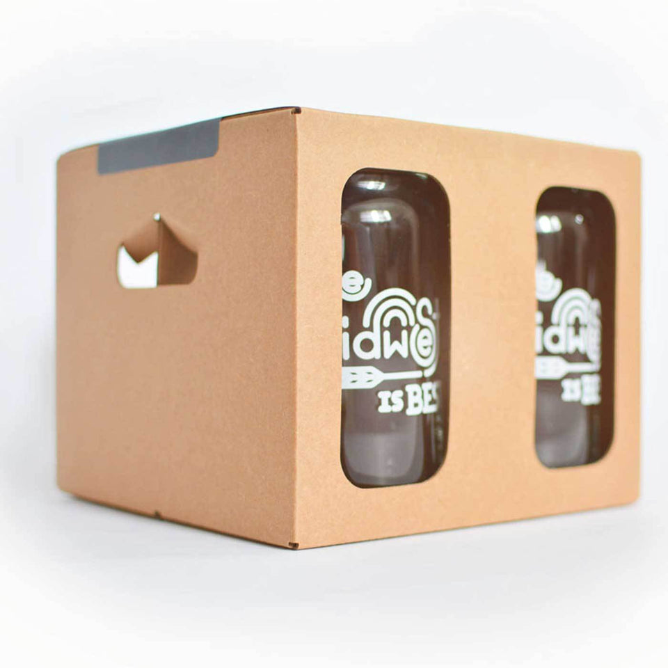 Beer can shaped glass with The Midwest is Best design with white ink packaged in a four pack box.