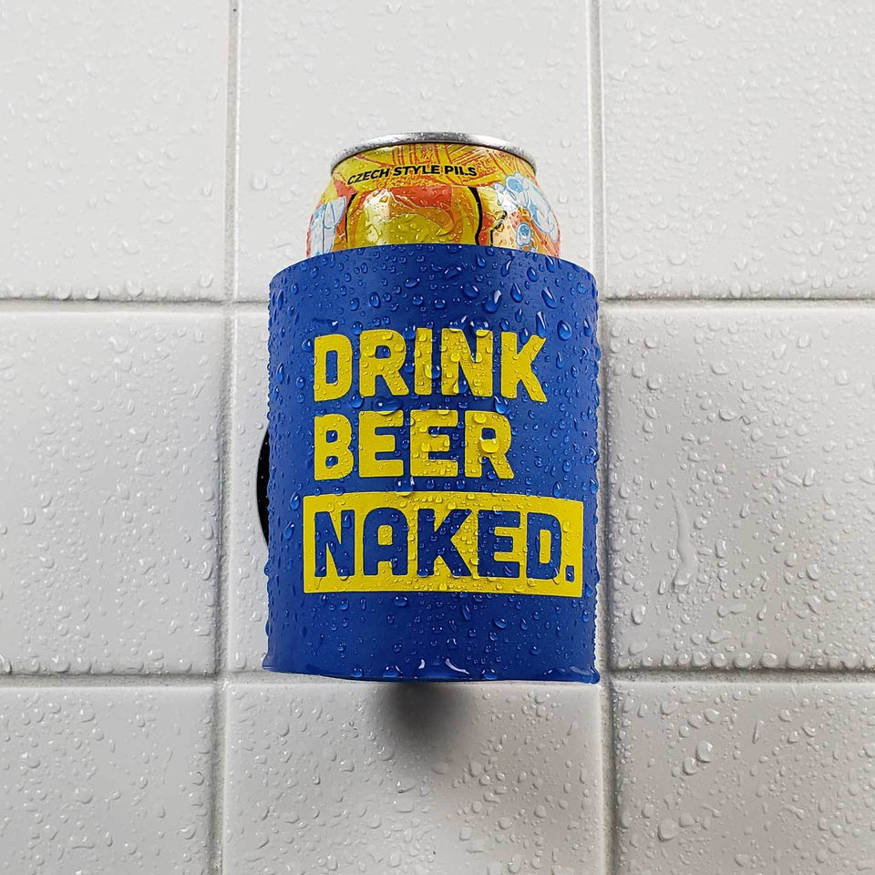Drink Beer Naked design blue foam can beverage holder with yellow ink sticking to a shower wall.